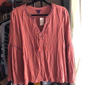 brownish peach v neck long sleeve